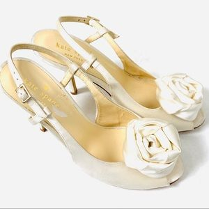 Kate Spade Ivory Satin Rosette Peep Toe Wedding